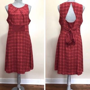 Anthropologie red plaid Goji silk dress